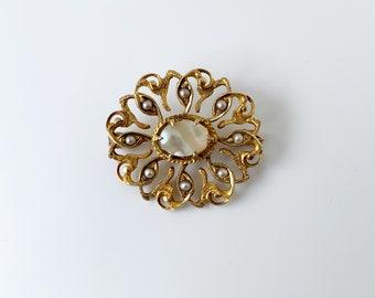 Vintage Seed Pearl Brooch   Mother of Pearl   Gold Brooch