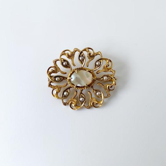 Vintage Seed Pearl Brooch | Mother of Pearl | Gol… - image 1