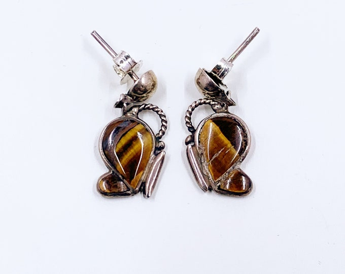 Vintage Silver Inlay Butterfly Earrings | Tiger's Eye Inlay | Vintage Butterfly Drop Earrings
