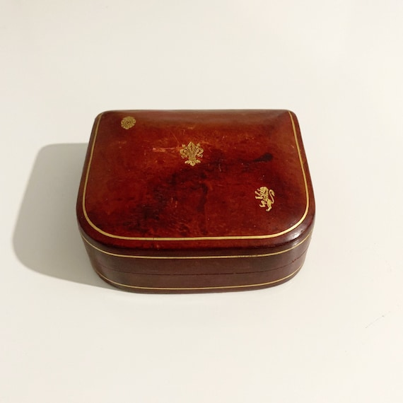 Vintage Red Leather Jewelry Box | Leather and Velv