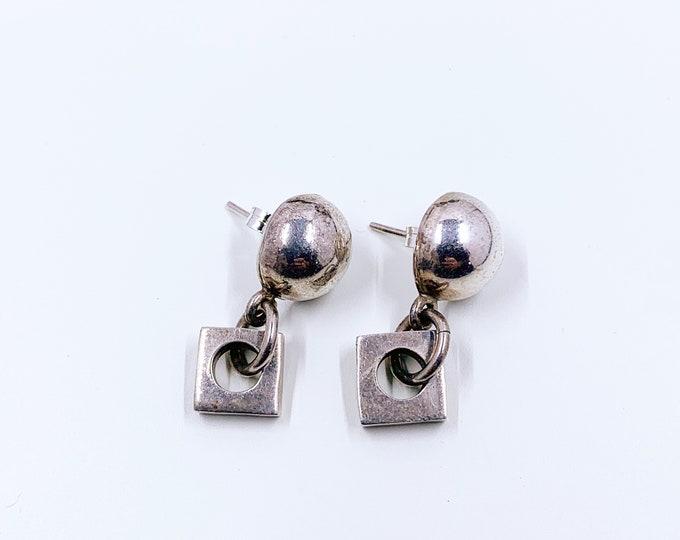 Vintage Mexican Silver Geometric Earrings | Silver Modernist Square Dangle Earrings