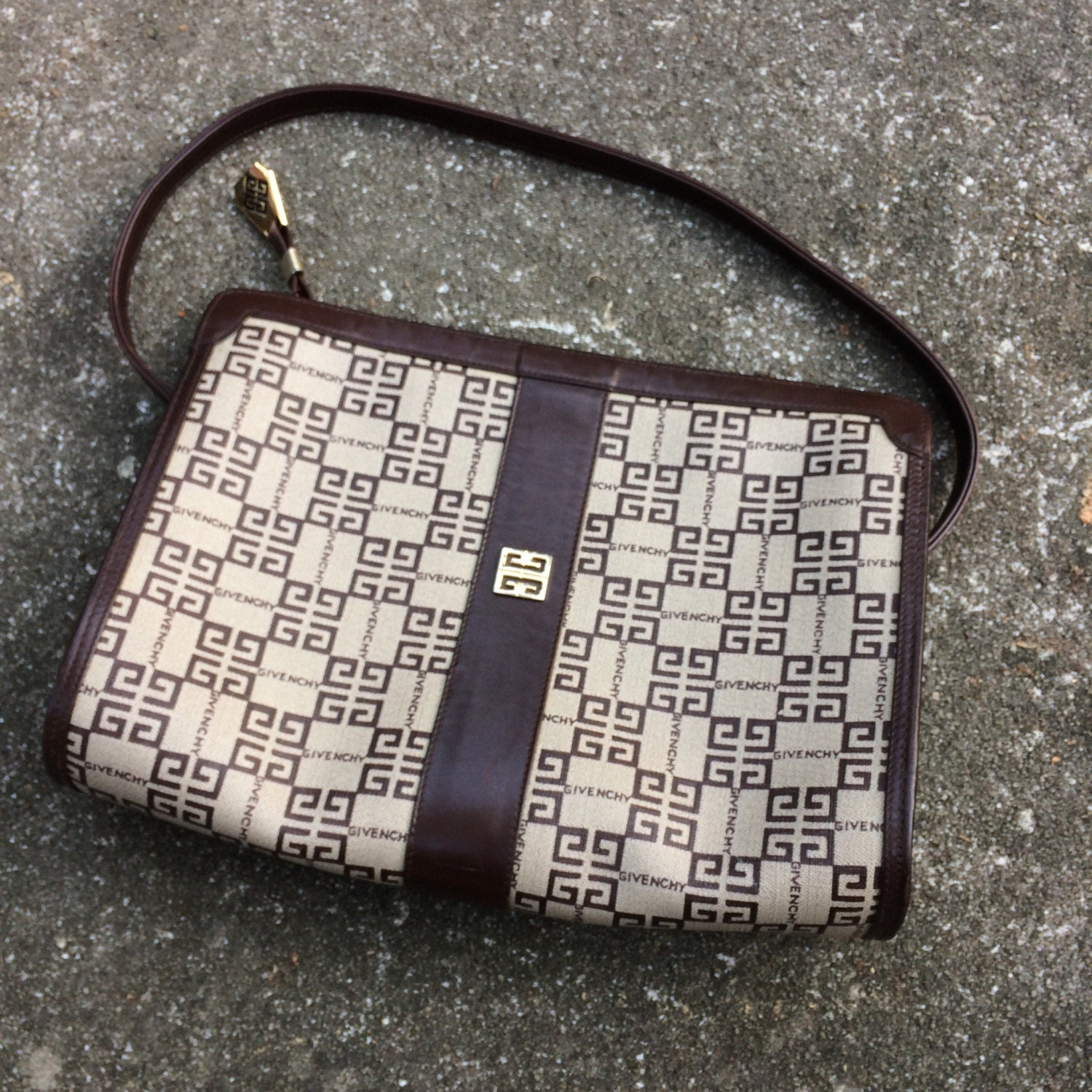 22c14c3ffb Vintage Givenchy Bag Brown Leather Monogram Purse Handbag. gallery photo ...