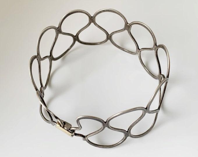 Vintage Silver Modernist Cuff Bracelet   Vintage Silver Lattice Bracelet