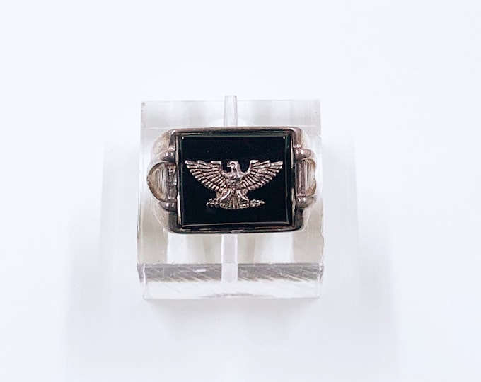 Vintage Sterling Silver Eagle Signet Ring | Onyx Signet Ring | Size 7 1/2 Ring