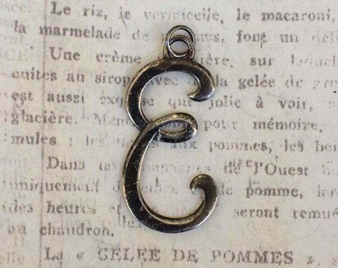 Vintage Initial E Charm   Leonore Doskow Charm  Letter E Pendant