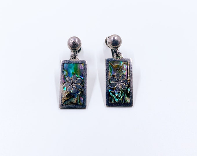 Vintage Silver Mother of Pearl Inlay Earrings | Mexican Silver TAXCO Screw Back Earrings