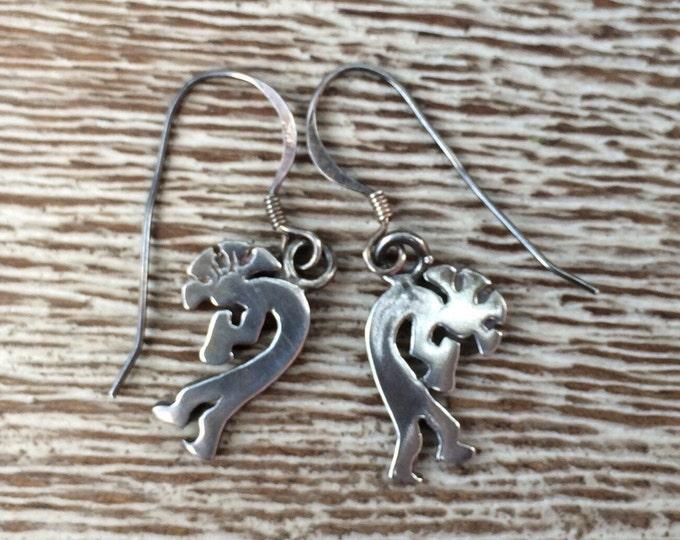 Silver Kokopelli Earrings | Hopi Native American Earrings
