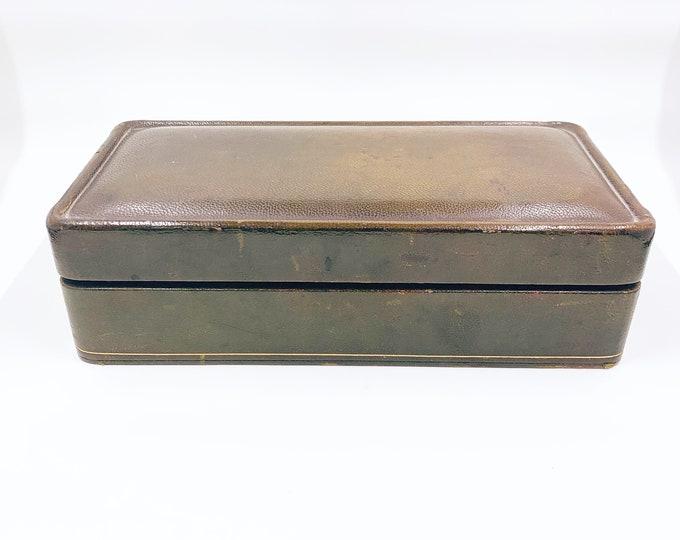 Vintage Leather Cigarette Box | Gold Embossed Leather Cigar Box | Leather Jewelry Trinket Box