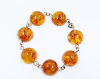 Vintage Amber Dome Bracelet | Vintage Polished Amber Bracelet | Organic Amber Cabochon Bracelet