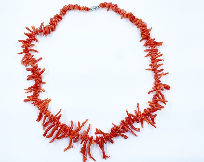 Vintage Branch Coral Necklace   Red Coral Beads   Stacking Necklace
