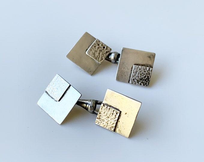 Vintage Modernist Silver Cuff Links