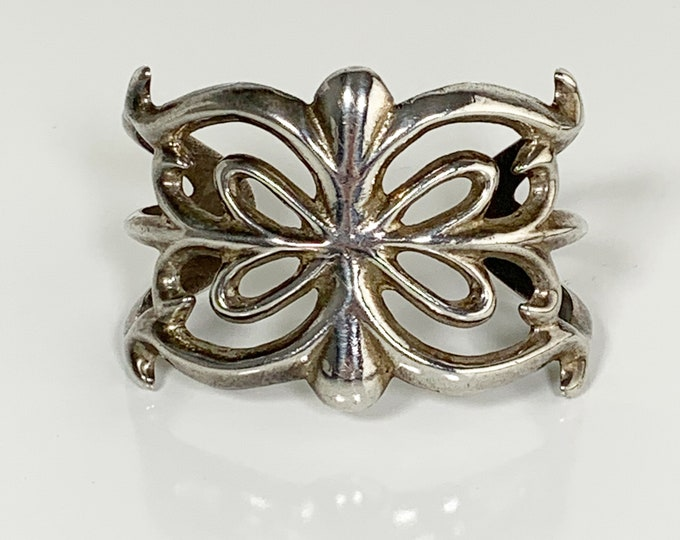 Vintage Silver Sandcast Cuff Bracelet   Southwest Silver Ingot Cast Cuff