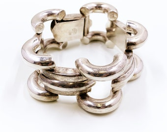 Vintage Silver Mexican Modernist Bracelet | Large Silver Modernist Link Bracelet