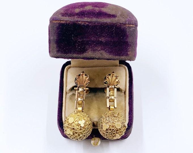 Antique Gold Filled Etruscan Revival Screw Back Earrings | Etruscan Orb Dangle Earrings