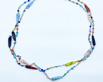 Vintage Harlequin Glass Bead Necklace | Art Glass Sautoir Bead Necklace