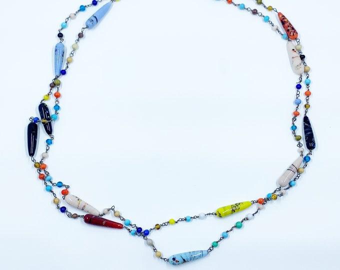Vintage Harlequin Glass Bead Necklace   Art Glass Sautoir Bead Necklace