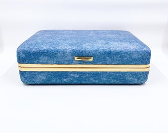 Vintage Blue Clamshell Jewelry Box | Retro Clamshell Ring Case | Mele Style Hard Case Jewelry Box