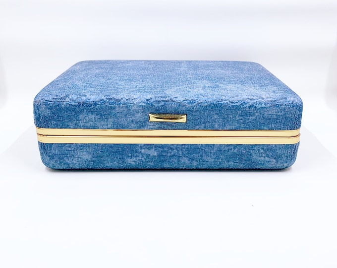 Vintage Blue Clamshell Jewelry Box   Retro Clamshell Ring Case   Mele Style Hard Case Jewelry Box