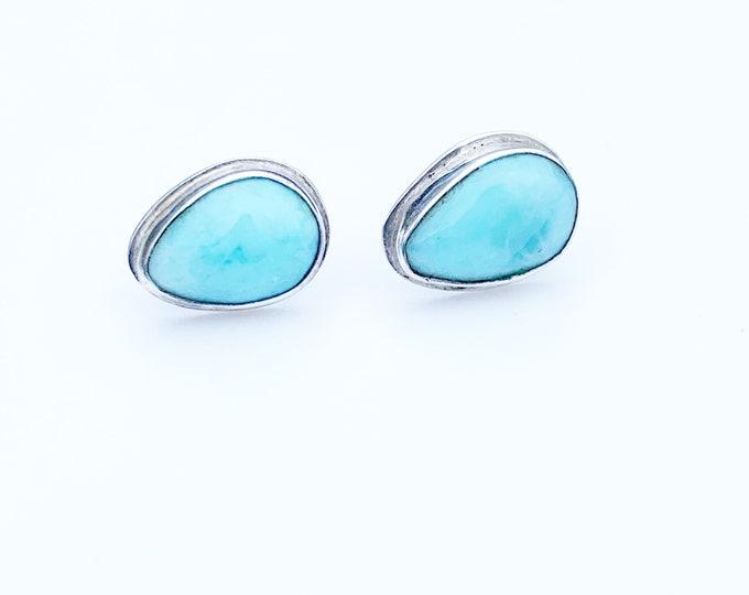 Silver Larimar Stud Earrings | Tear Drop Larimar Earrings