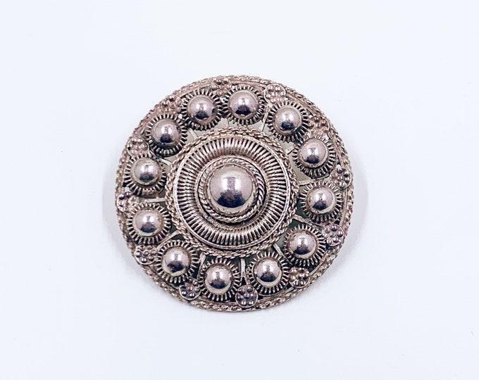 Vintage Cannetille Silver Brooch | Etruscan Revival Cannetille Brooch | Silver Medallion