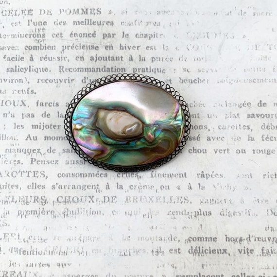 Vintage Abalone Brooch   Blister Pearl - image 1