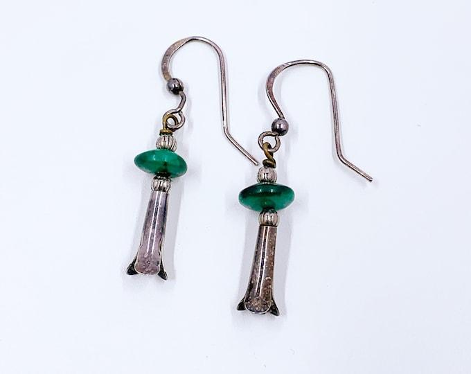 Vintage Silver Malachite Squash Blossom Earrings | Southwest Drop Earrings