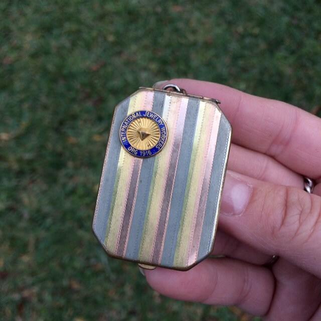 Large Marathon Tri-Color International Jewelry Workers Union Locket IJWU Locket Art Deco Rectangle Locket