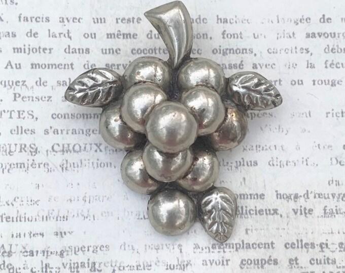 Vintage Silver Grape Cluster Brooch