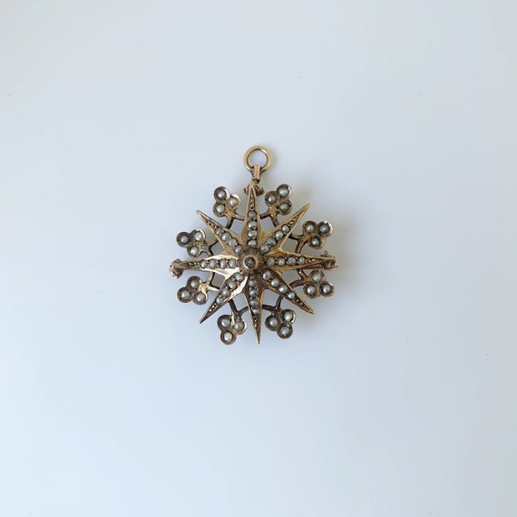Victorian Seed Pearl Star Brooch | Gold Clover and