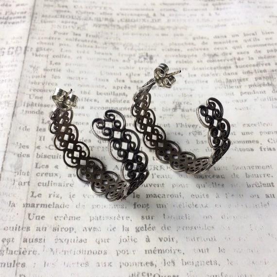 Vintage Silver Filigree Hoop Earrings | Half Hoop