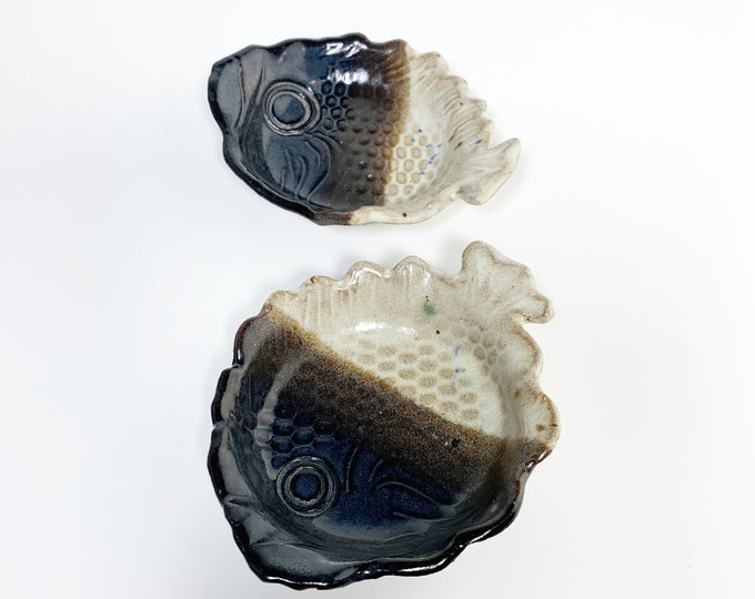 Vintage Terracotta Fish Ring Dish   Glazed Trinket Tray   Handmade Decor
