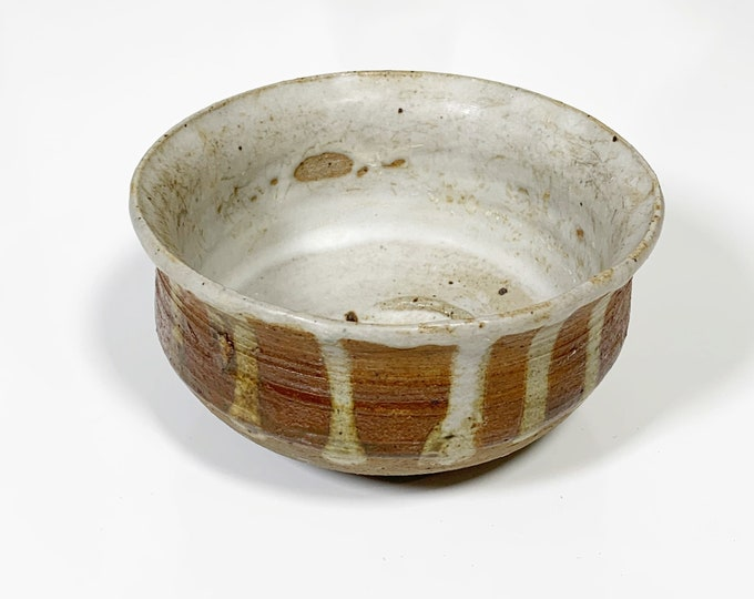 Vintage Matte Drip Glaze Bowl | Handmade Ceramic Decor | Signed MM