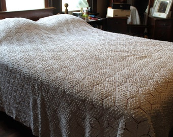 Quilts, Bedspreads & Coverlets Home & Garden Vintage Hand Crocheted White Cotton Double Bedspreadi