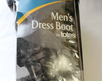 Vintage Deadstock TOTES Men's Dress Boots, Rubber Galoshes, Small