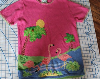 16b8c087040 80s Quacker Factory Pink Flamingo Tunic Sweater, Beach Coverup, Vacation  Wear, Ramie-Cotton, Small