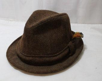 0643baebd8560f Vintage CHAMP Brown Tweed Fedora Size 7 1/4, Wool Blend