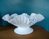SALE Vintage FENTON Milk Glass Hobnail Ruffled Pedestal Bowl, Wedding Centerpiece