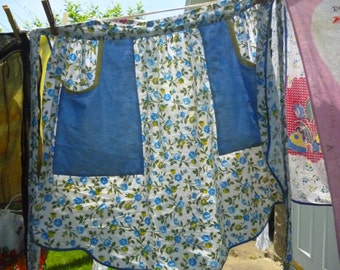 Vintage Homemade Blue Floral Half Apron, Medium-Large