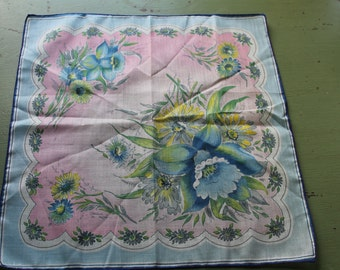 Vintage Blue & Pink Floral Print Handkerchief