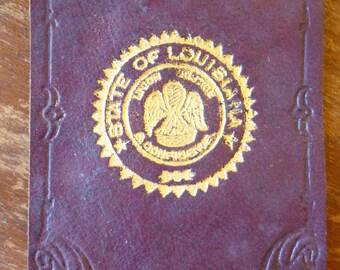 SALE Vintage Tobacciana, Leather, State of Louisiana, Cigarette Premium