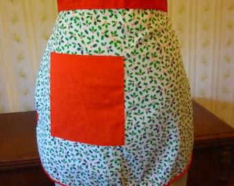 Vintage Christmas Holly Print Half Apron, NOS, Girls, Small