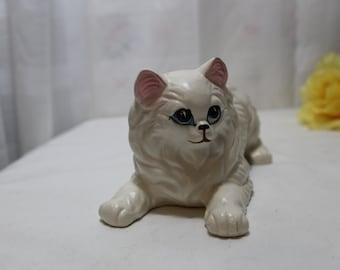 Large Vintage Porcelain Playful Persian Kitten Cat Figurine