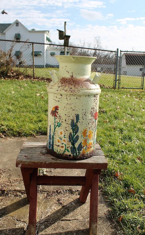 Antique Decorated Milk Jug Rusty Milk Can Shabby Umbrella Etsy