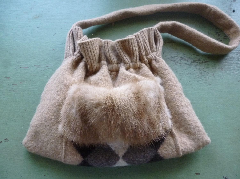Harga Jual Sumo Tweet Beige Taupe Terbaru 2018 Eiger Travel Pouch Reguler Hitam 734701tn Sale Felted Wool Argyle Purse With Fur Trim Repurposed Etsy