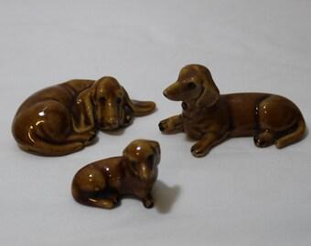 SALE Vintage Dachshund Weiner Dog Family-Papa, Mama, Puppy, Hot Dogs