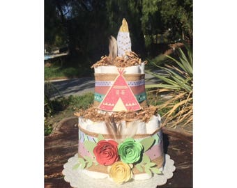 Boho Diaper Cake, Tribal Diaper Cake, Be brave baby shower, Arrows Baby Decorations, Bohemian Baby, Teepee Baby Shower Diaper cake