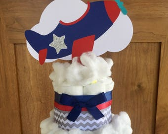Airplane baby shower decorations, vintage airplane shower decor, up up and away baby shower, airplane baby diaper cake table centerpiece