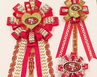 Football Baby's Shower Ribbon  mom to be Corsage, 49ers mommy to be pin, 49ers baby shower decorations