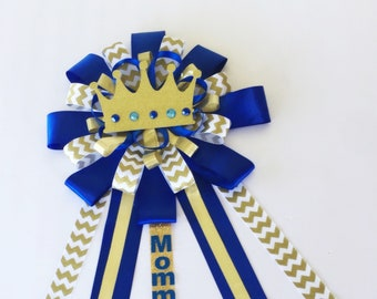 Large Prince Corsage, Prince Baby Shower Mommy to be pin, lil Prince Baby Shower Decorations, royal blue gold baby shower, royal blue prince
