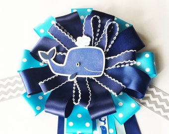 Deluxe Nautical Mom to be Corsage, Nautical Mom to be Pin, Mum, Whale theme shower, nautical theme shower, Ocean Theme Shower Decorations
